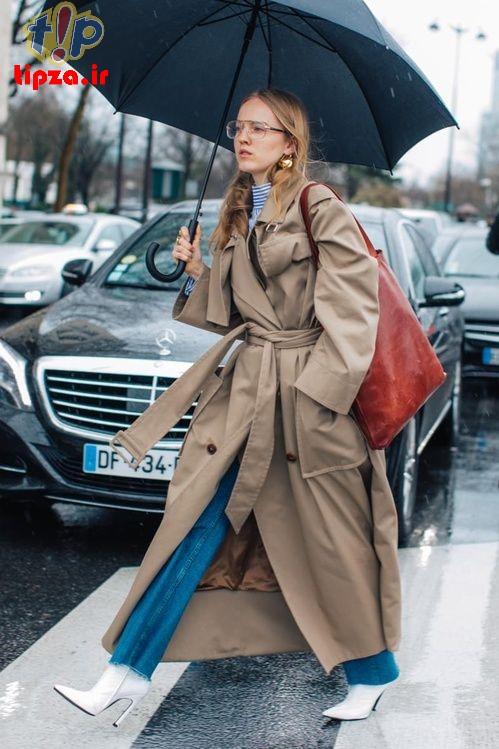 شیک ترین مدل بارانی جدید زنانه رنگ نود