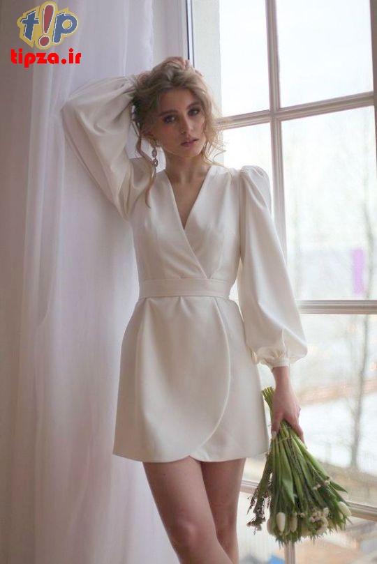 لباس مجلسی آستین پفی برای خانم ها