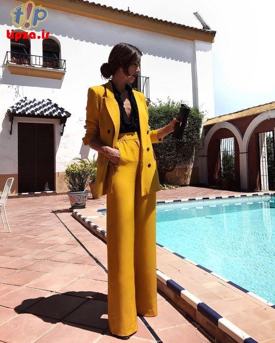 ست لباس با رنگ جذاب خردلی برای خانم ها | ترکیب رنگ استایل