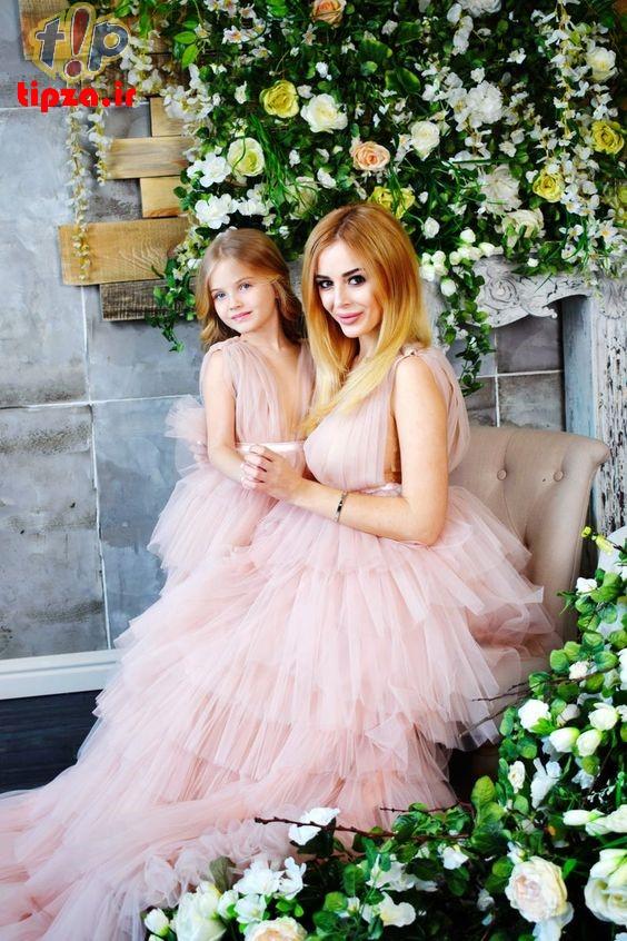 تصاویر جدید از ست لباس شیک مادرانه و دخترانه   روش ست کردن