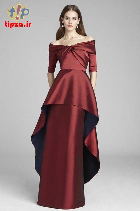 تصاویر جدید از مدل لباس مجلسی یقه قایقی برای خانم ها