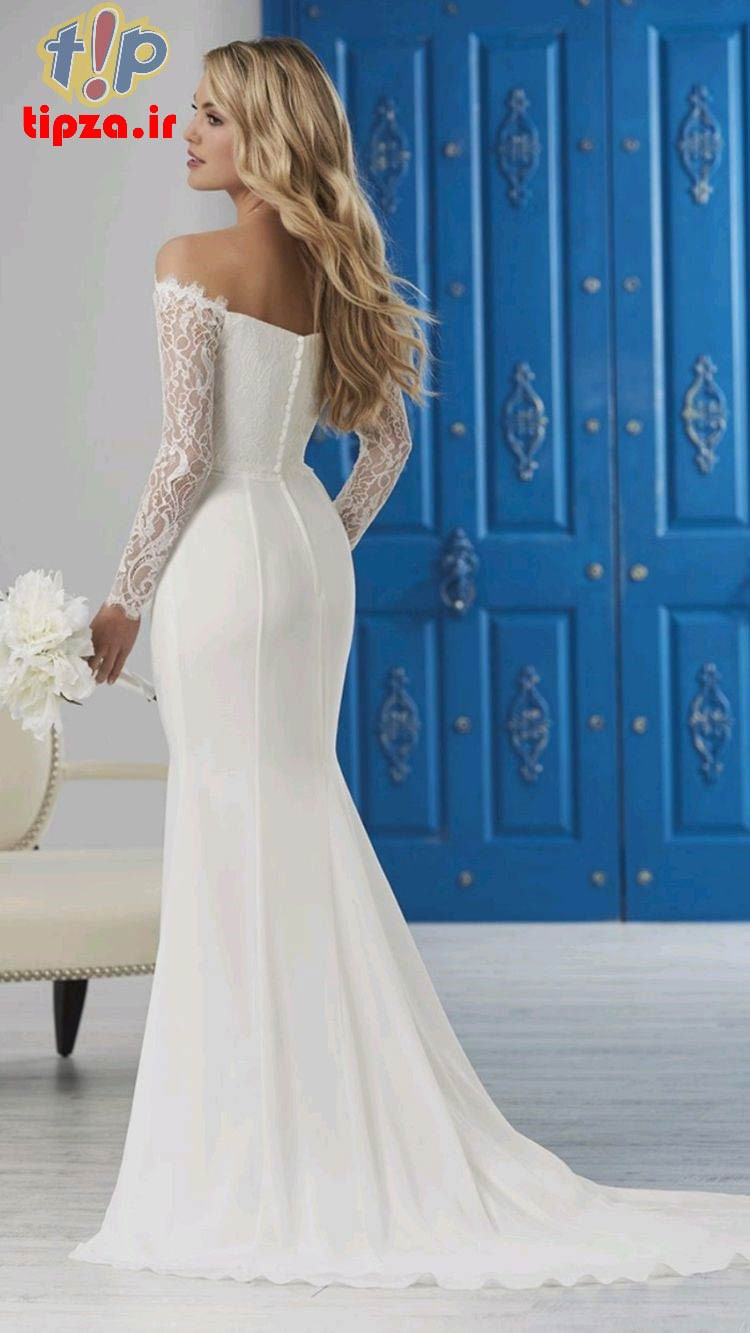 جدیدترین مدل لباس عروس یقه قایقی 2022